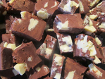 Chocolate Fudge with White Chocolate Bites